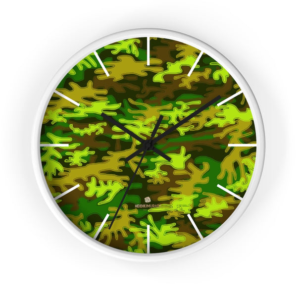 Bright Green Camo Camouflage Military Army Print Large Unique Wall Clocks- Made in USA-Wall Clock-10 in-White-Black-Heidi Kimura Art LLC