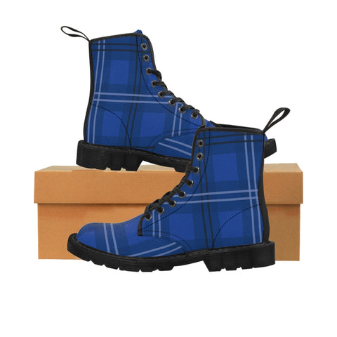 Blue Plaid Women's Canvas Boots