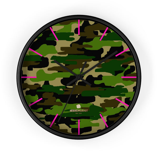 Green Camouflage Camo Army Military Print 10 in. Dia. Indoor Wall Clock- Made in USA-Wall Clock-10 in-Black-Black-Heidi Kimura Art LLC