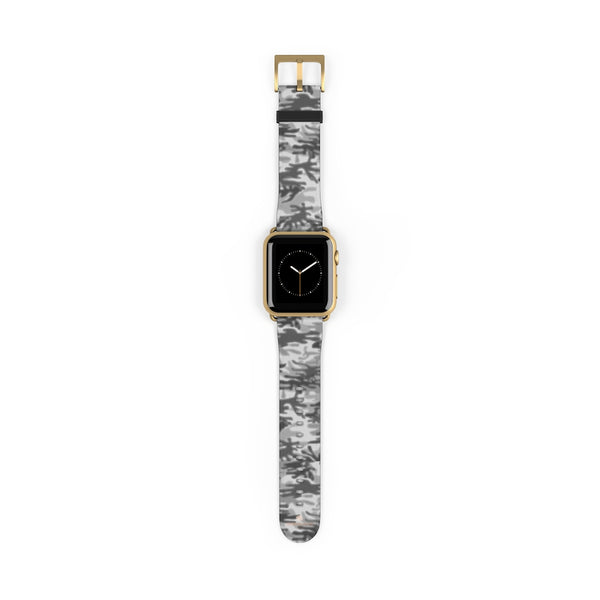 Light Grey Classic Camo Print 38mm/42mm Watch Band For Apple Watch- Made in USA-Watch Band-38 mm-Gold Matte-Heidi Kimura Art LLC