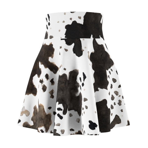 Aika Cow Animal Print Black Brown White Women's Skater Skirt- Made in USA (Size: XS-2XL)