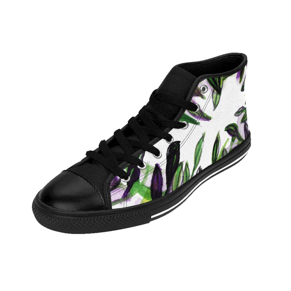 Tropical Leaves Women's High Top Designer Sneakers Running Shoes (US Size: 6-12)-Women's High Top Sneakers-Heidi Kimura Art LLC Tropical Leaves Women's Sneakers, Tropical Leaves Print Women's High Top Designer Sneakers Running Shoes (US Size: 6-12)