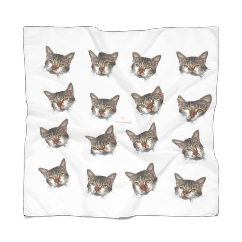 Cat Print Poly Scarf, Women's Fashion Accessories For Men/Women- Made in USA-Accessories-Printify-Poly Chiffon-25 x 25 in-Heidi Kimura Art LLC