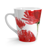 Bright Red Poppy Flower Floral Print 12 Oz. Coffee Latte Mug Cup- Made in USA - Heidi Kimura Art LLC