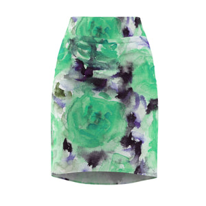 Snowy Rose Floral Print Women's Designer Pencil Skirt - Made in USA (Size XS-2XL)-Pencil Skirt-XS-Heidi Kimura Art LLC