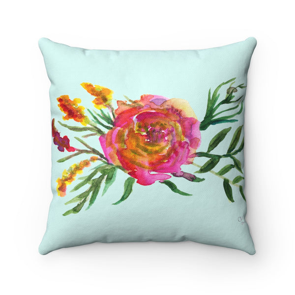 Pink Rose Girlie Floral Wreath Print Spun Polyester Square Pillow Case - Made in USA-Pillow Case Only-Heidi Kimura Art LLC