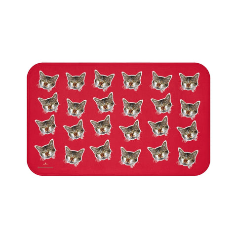 Hot Red Cat Print Bath Mat, Premium Soft Microfiber Fine Bathroom Rug- Printed in USA-Bath Mat-Large 34x21-Heidi Kimura Art LLC