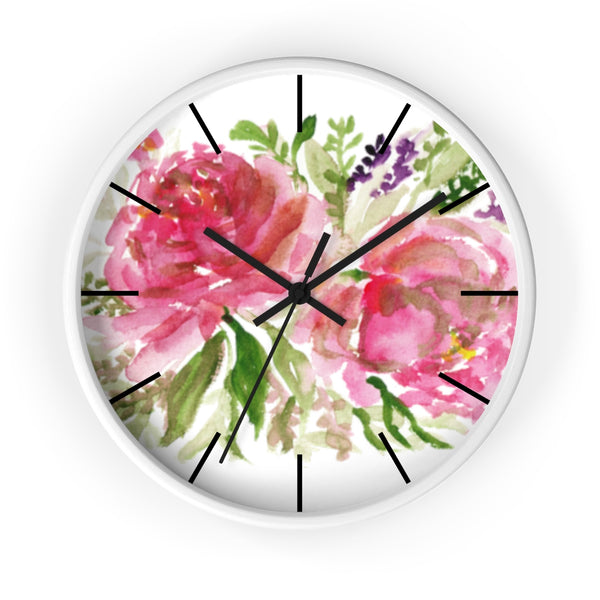 Pink Spring Rose Floral Print Flower 10 inch Diameter Flower Wall Clock - Made in USA-Wall Clock-White-Black-Heidi Kimura Art LLC