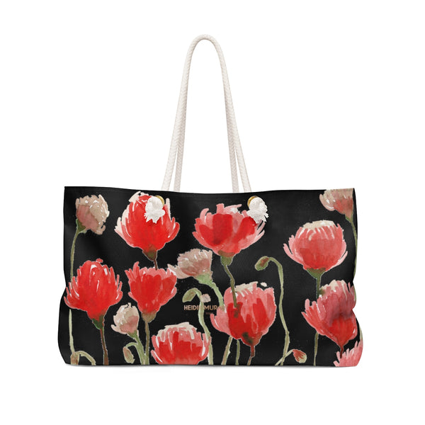 "Black Red Poppy Flowers Floral Print Oversized Designer 24""x13"" Large Weekender Bag-Weekender Bag-24x13-Heidi Kimura Art LLC"