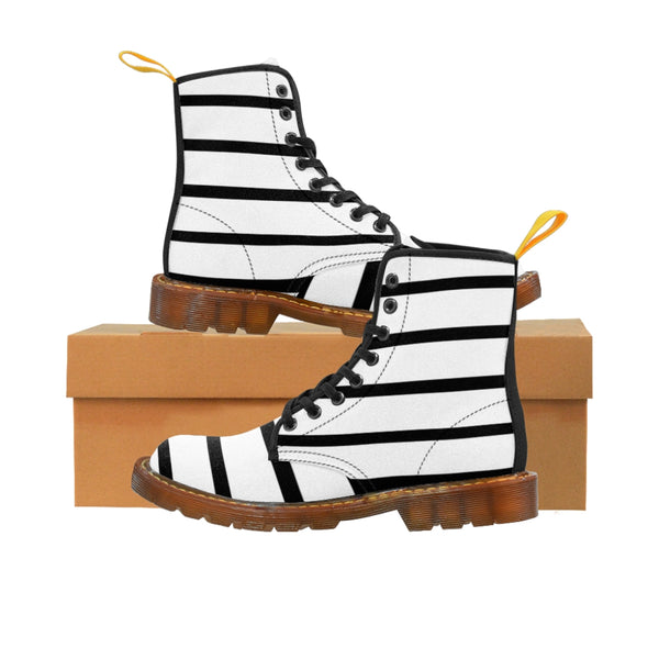 Striped Women's Canvas Boots, Modern White Black Stripes Print Winter Boots For Ladies-Shoes-Printify-Brown-US 8.5-Heidi Kimura Art LLC
