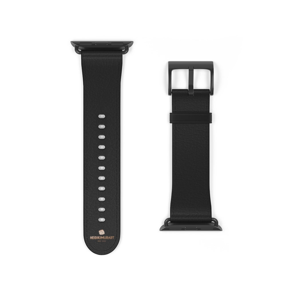 Black Solid Color Print 38mm/ 42mm Watch Band Strap For Apple Watches- Made in USA-Watch Band-38 mm-Black Matte-Heidi Kimura Art LLC