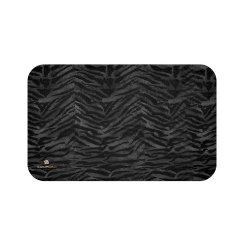 Gray Tiger Stripe Animal Print Premium Soft Microfiber Fine Designer Bath Mat- Printed in USA-Bath Mat-Large 34x21-Heidi Kimura Art LLC