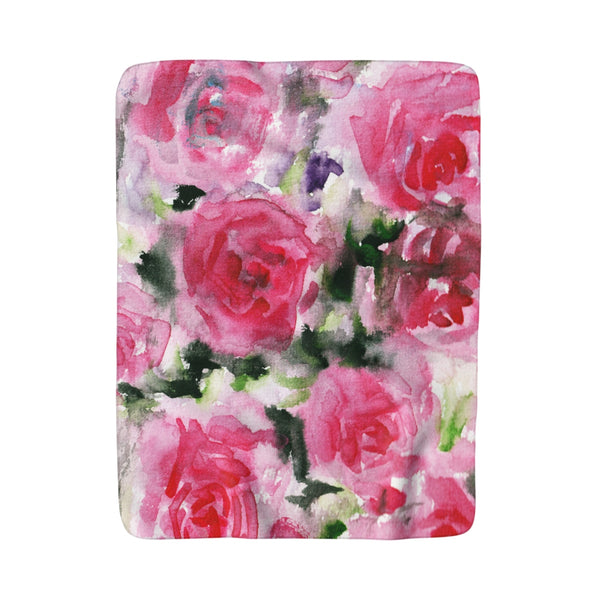 "Pink Rose Floral Fleece Blanket, Flower Print 50""x 60"" Sherpa Fleece Blanket-Made in USA-Blanket-50x60-Heidi Kimura Art LLC"