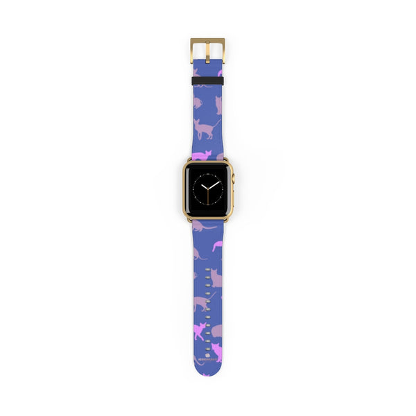 Purple Pink Cats Print 38mm/42mm Premium Watch Band For Apple Watch- Made in USA-Watch Band-38 mm-Gold Matte-Heidi Kimura Art LLC