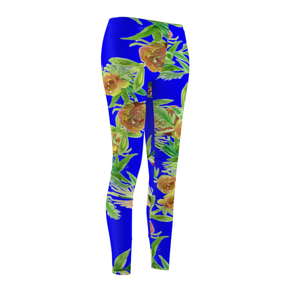 Blue Rose Floral Print Women's Tights / Casual Leggings -Made in USA (US Size: XS-2XL)-Casual Leggings-Heidi Kimura Art LLC Blue Rose Floral Women's Tights, Blue Rose Floral Print Women's Tights / Casual Leggings - Made in USA (US Size: XS-2XL)