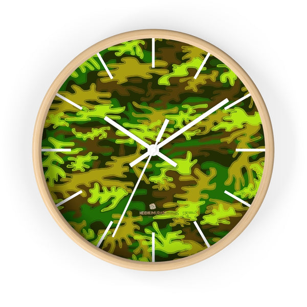 Bright Green Camo Camouflage Military Army Print Large Unique Wall Clocks- Made in USA-Wall Clock-10 in-Wooden-White-Heidi Kimura Art LLC