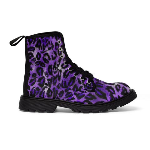 Purple Leopard Men's Boots, Best Animal Print Hiking Winter Laced Up Shoes For Men-Shoes-Printify-Black-US 9-Heidi Kimura Art LLC Light Purple Leopard Men's Boots, Best Luxury Premium Quality Unique Animal Print Designer Men's Lace-Up Winter Boots Men's Shoes (US Size: 7-10.5)