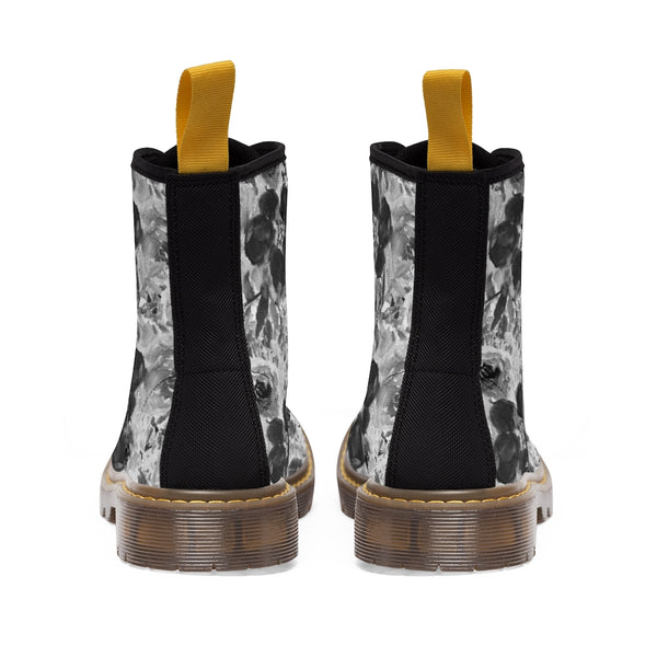 Black Floral Women's Canvas Boots-Shoes-Printify-Heidi Kimura Art LLC Black Floral Women's Canvas Boots, Flower Rose Print Ladies Fashion Lace-Up Hiking Boots, Best Ladies' Combat Boots, Designer Women's Winter Lace-up Toe Cap Hiking Boots Shoes For Women (US Size 6.5-11)