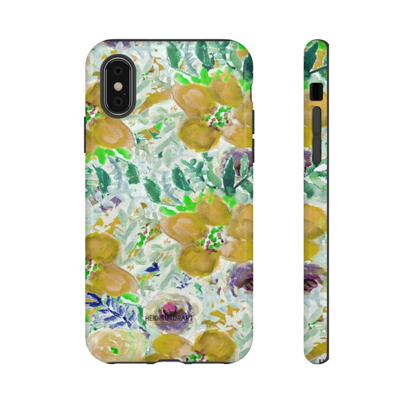 Yellow Floral Designer Tough Cases, Flower Print Best iPhone Samsung Case-Made in USA