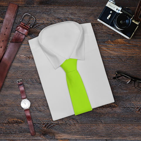 Lime Neon Green Solid Color Printed Soft Satin Finish Mens Necktie- Made in USA-Necktie-One Size-Heidi Kimura Art LLC
