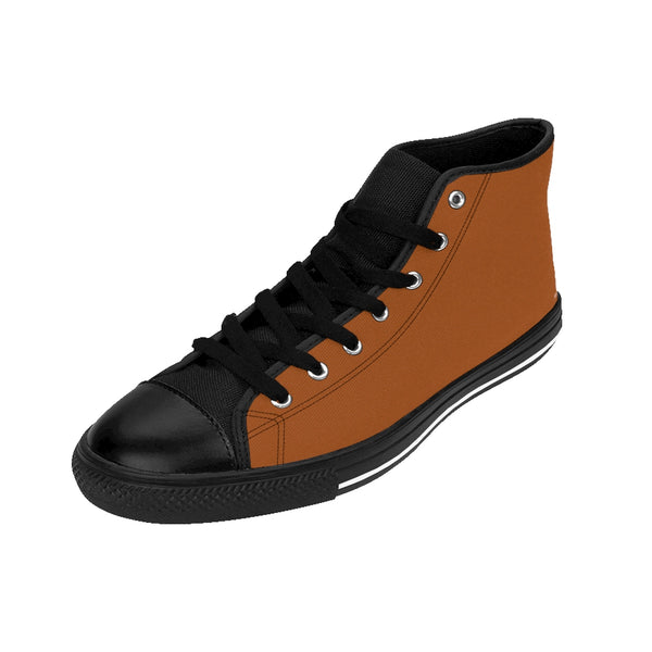Gingerbread Brown Solid Color Women's High Top Sneakers Running Shoes-Women's High Top Sneakers-Heidi Kimura Art LLC Gingerbread Brown Women's Sneakers, Gingerbread Brown Solid Color Women's High Top Sneakers Running Shoes (US Size: 6-12)