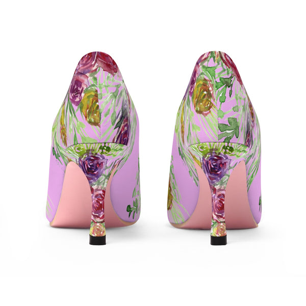 "Pastel Pink Bridal Wedding Floral Print Women's 3"" High Heels Shoes (US Size: 5-11)-3 inch Heels-Heidi Kimura Art LLC"