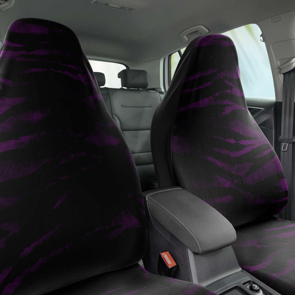 Tiger Car Seat Cover, Purple Tiger Stripe Bestselling Animal Print Essential Premium Quality Best Machine Washable Microfiber Luxury Car Seat Cover - 2 Pack For Your Car Seat Protection, Cart Seat Protectors, Car Seat Accessories, Pair of 2 Front Seat Covers, Custom Seat Covers