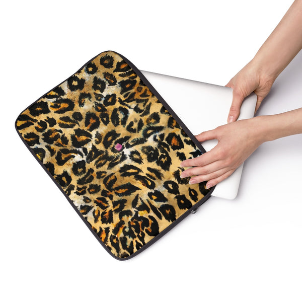 "Wild Big Cat Leopard Animal Print 12', 13"", 14"" Laptop Sleeve Computer Bag - Designed + Made in the USA-Laptop Sleeve-13""-Heidi Kimura Art LLC"