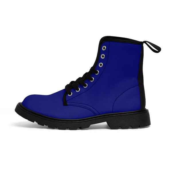 Brilliant Blue Classic Solid Color Designer Women's Winter Lace-up Toe Cap Boots-Women's Boots-Black-US 9-Heidi Kimura Art LLC
