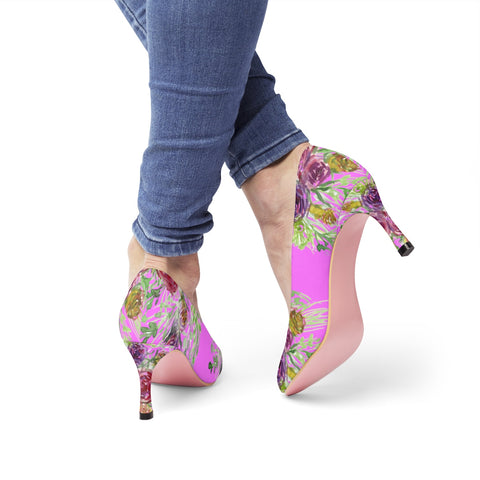 "Pink Rose Bridal Floral Print Women's 3"" High Heels Pumps Shoes(US Size: 5-11)-3 inch Heels-Heidi Kimura Art LLC Pink Floral Heels,"