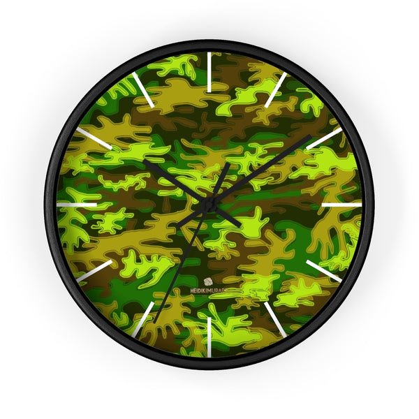 Bright Green Camo Camouflage Military Army Print Large Unique Wall Clocks- Made in USA-Wall Clock-10 in-Black-Black-Heidi Kimura Art LLC