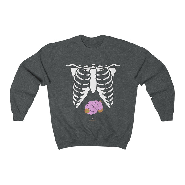White Skeleton Torso Halloween Unisex Heavy Blend Crewneck Sweatshirt-Made in USA-Long-sleeve-Dark Heather-S-Heidi Kimura Art LLC