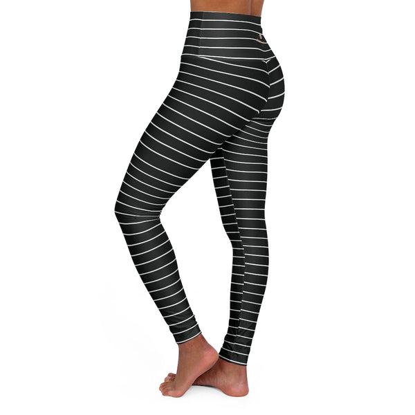 Black Striped Tights, High Waisted Yoga Leggings, Black White Stripes Women's Tights - Made in USA-All Over Prints-Printify-XS-Heidi Kimura Art LLC
