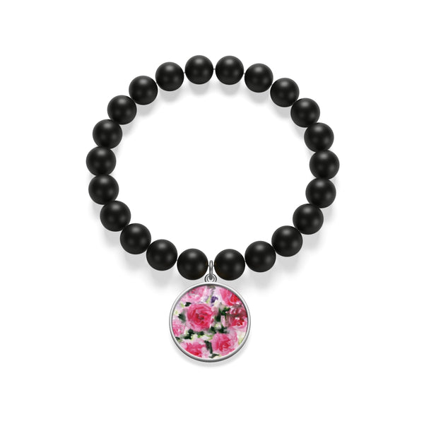Pink Floral Rose Print Women's Elastic Silver/Gold Plated Matte Onyx Bracelet-Made in USA - Heidi Kimura Art LLC
