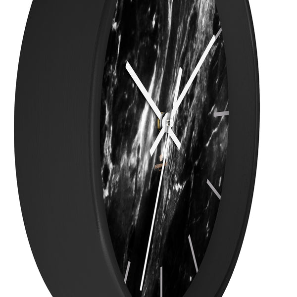 Elegant Black & White Marble Print Art Large Indoor Designer Wall Clock-Made in USA-Wall Clock-Heidi Kimura Art LLC