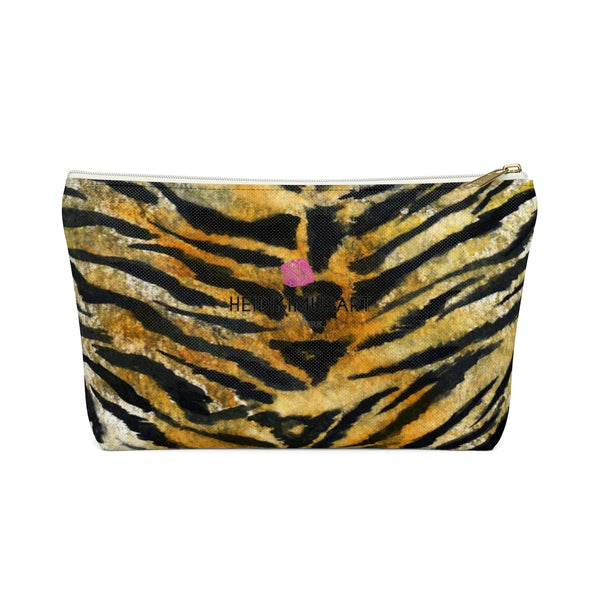 Wild Orange Bengal Tiger Stripe Animal Print Accessory Pouch w T-bottom-Accessory Pouch-White-Large-Heidi Kimura Art LLC