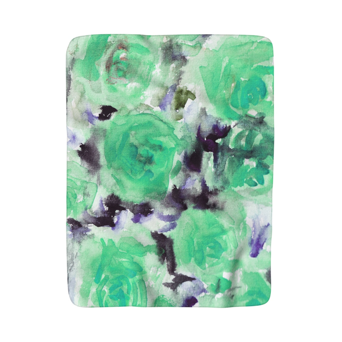 Light Blue Rose Floral Print 100% Polyester Cozy Sherpa Fleece Blanket - Made in USA-Blanket-50x60-Heidi Kimura Art LLC
