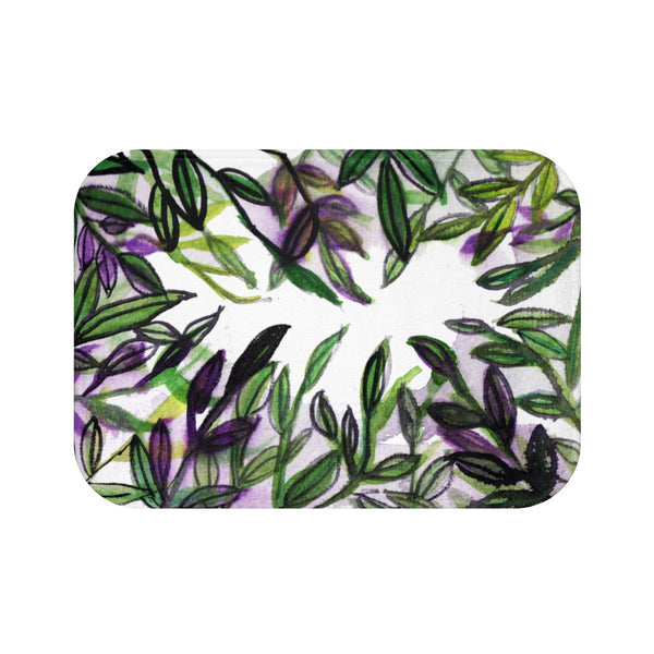 Real Fragrance Green Tropical Leaf Print Anti-Slip Microfiber Bath Mat -Printed in USA-Bath Mat-Small 24x17-Heidi Kimura Art LLC