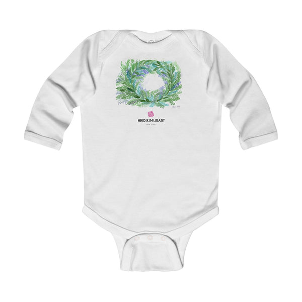 French Lavender Floral Print Baby's Infant Long Sleeve Bodysuit - Made in UK-Kids clothes-White-12M-Heidi Kimura Art LLC