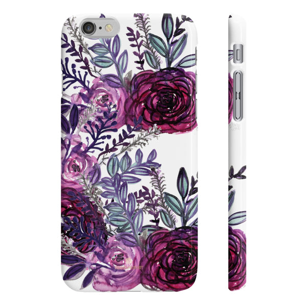 White Purple Rose Slim iPhone/ Samsung Galaxy Floral Print Phone Case, Made in UK-Phone Case-iPhone 6/6S Slim-Glossy-Heidi Kimura Art LLC