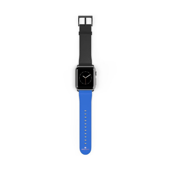 Blue Black Duo Solid Color Print 38mm/42mm Watch Band For Apple Watch- Made in USA-Watch Band-Heidi Kimura Art LLC
