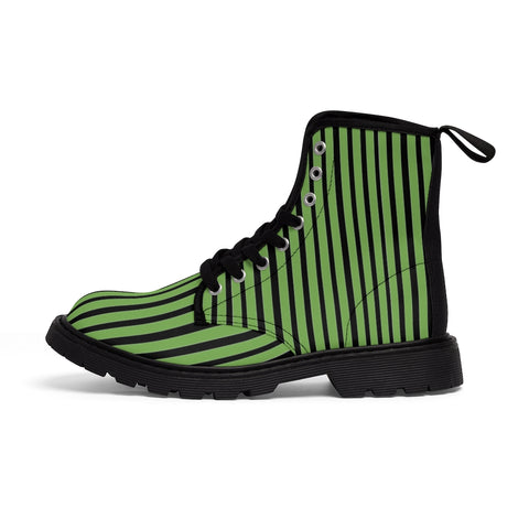 Green Striped Print Men's Boots, Black Stripes Best Hiking Winter Boots Laced Up Shoes For Men-Shoes-Printify-Black-US 7-Heidi Kimura Art LLCGreen Striped Print Men's Boots, Black Green Stripes Men's Canvas Hiking Winter Boots, Fashionable Modern Minimalist Best Anti Heat + Moisture Designer Comfortable Stylish Men's Winter Hiking Boots Shoes For Men (US Size: 7-10.5)