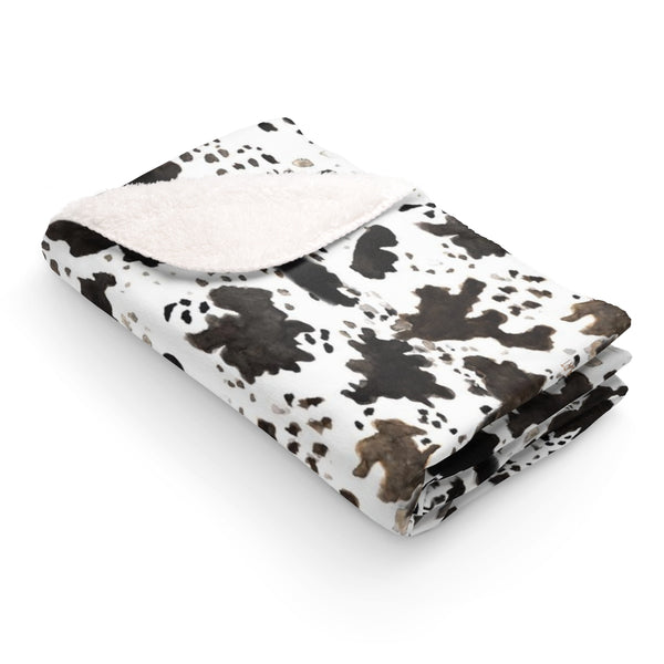 Ito Cow Print White Brown Black Fluffy Warm Cozy Sherpa 100% Polyester Fleece Blanket Plush Backside