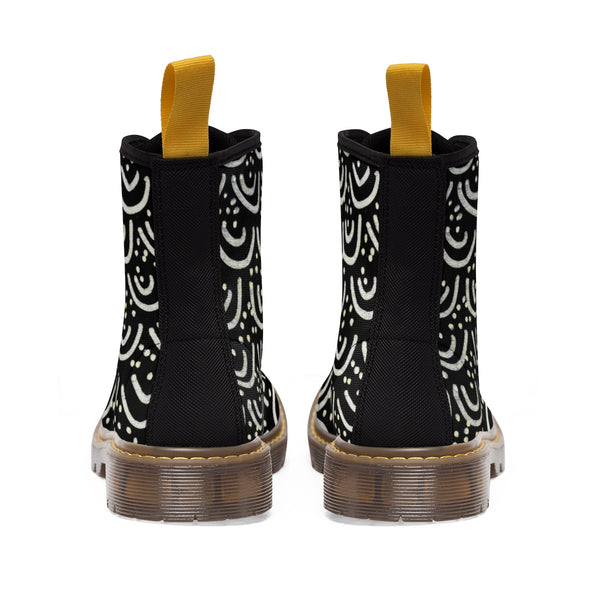Black Mermaid Geometric Women's Winter Lace-up Toe Cap Boots Shoes(US Size 6.5-11)-Women's Boots-Heidi Kimura Art LLC