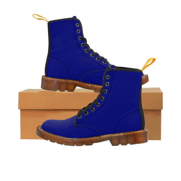 Brilliant Blue Classic Solid Color Designer Women's Winter Lace-up Toe Cap Boots-Women's Boots-Heidi Kimura Art LLC