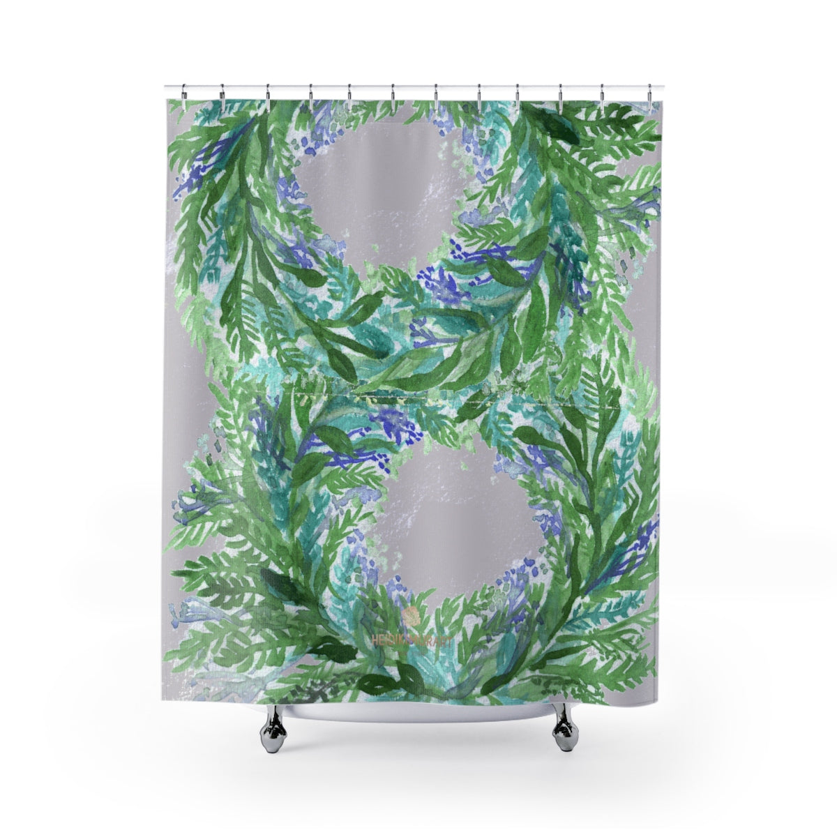 "Light Gray French Lavender Floral Print Polyester Shower Curtains- Printed in USA-Shower Curtain-71"" x 74""-Heidi Kimura Art LLC Light Gray Lavender Shower Curtains, Light Gray Cute Pastel Purple French Lavender Floral Print - Printed in USA, Large 100% Polyester 71x74 inches Shower Curtains"