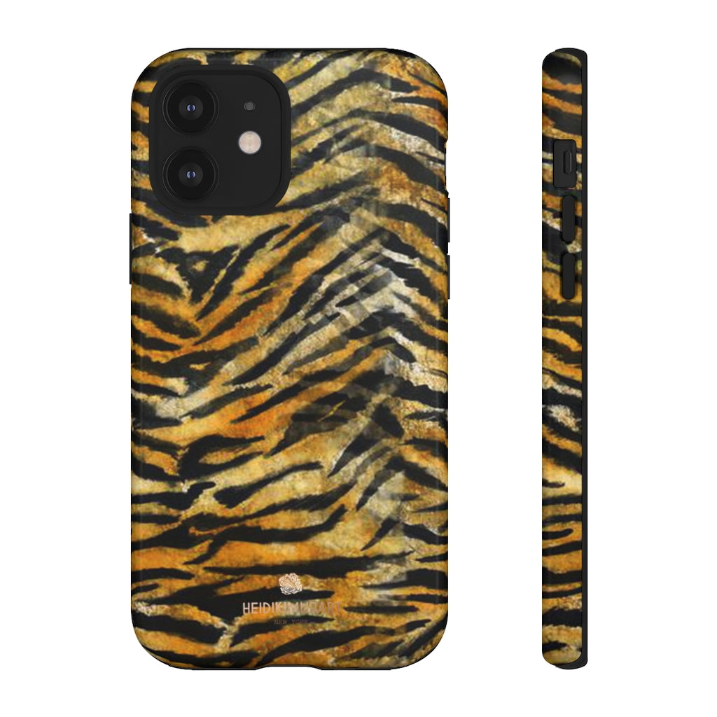 Orange Tiger Striped Phone Case, Animal Print Tough Cases, Designer Phone Case-Made in USA-Phone Case-Printify-iPhone 12-Glossy-Heidi Kimura Art LLC