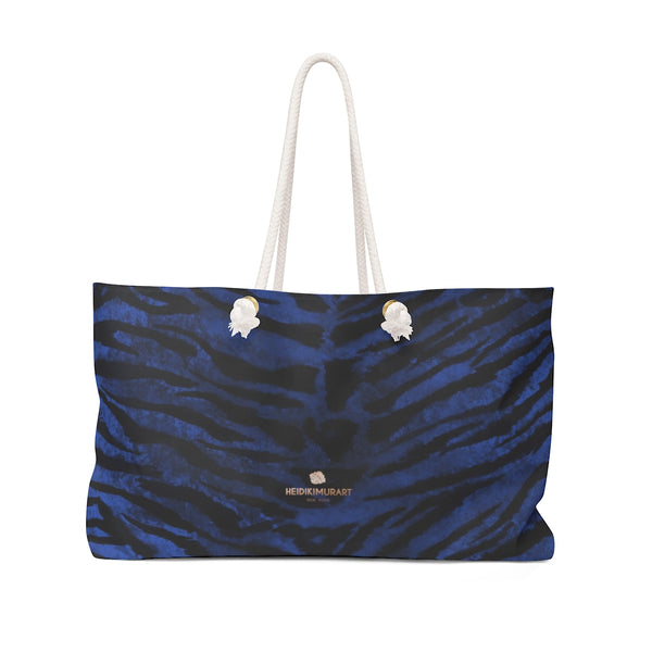 "Fierce Navy Blue Tiger Striped Print Oversized Designer 24""x13"" Large Weekender Bag-Weekender Bag-24x13-Heidi Kimura Art LLC"