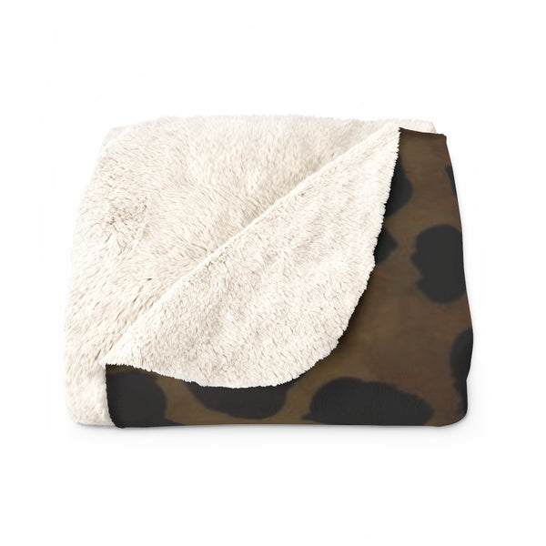 Cheetah Animal Print Blanket, Brown Cheetah Print Cozy Sherpa Fleece Blanket-Made in USA-Blanket-Heidi Kimura Art LLC