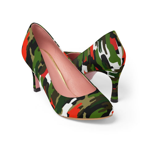"Red Green Army Camo Camouflage Print Premium Women's 3"" High Heels Shoes-3 inch Heels-US 7-Heidi Kimura Art LLC Red Green Army Camo Heels, Red & Green White Camo Military Army Print Premium Women's 3 inch Designer High Heels Shoes Stylish Pumps, Camouflage Heels, Camo Heels, Camo Shoes, Green Camo Heel, Army Camo High Heels, Camouflage High Heel Shoes (US Size: 5-11)"